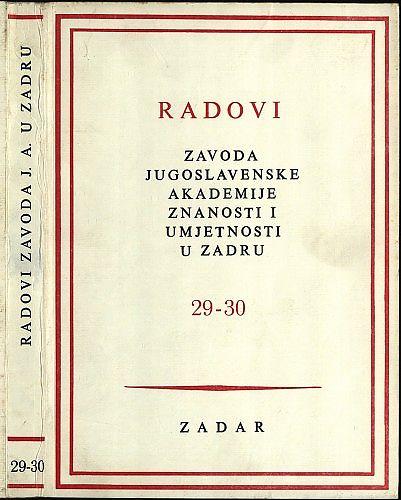 Radovi Zavoda Jugoslavenske akademije znanosti i umjetnosti u Zadru