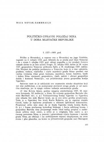 Političko-upravni položaj Nina u doba Mletačke Republike
