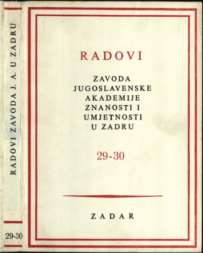 Sv. 29-30(1983) : Radovi Zavoda Jugoslavenske akademije znanosti i umjetnosti u Zadru