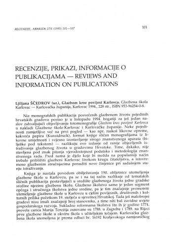 Glazbom kroz povijest Karlovca, ur. Ljiljana Ščedrov, Karlovac, 1994.