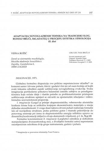 Adaptacija novoglazbenih tehnika na tradicijski slog. Rudolf Bruči, skladatelj u procjepu estetika i ideologija (II. dio)