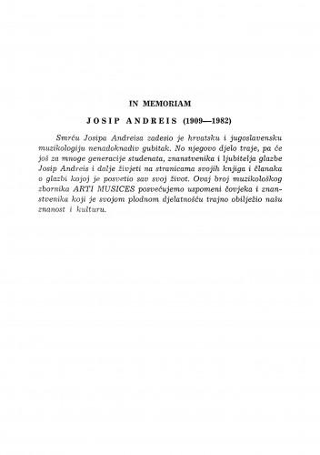 In memoriam Josip Andreis (1909-1982)