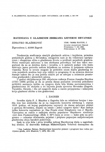 Haydniana u glazbenim zbirkama sjeverne Hrvatske