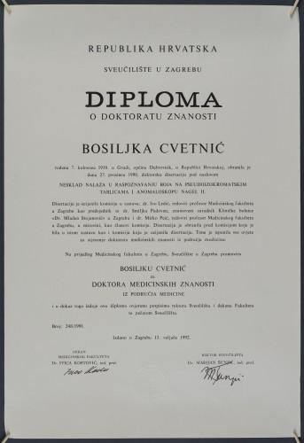 Doktorska diploma Bosiljke Cvetnić