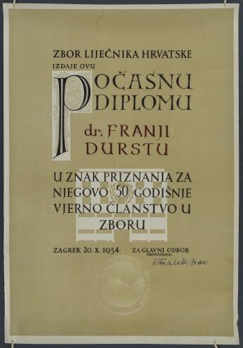 Počasna diploma Zbora liječnika Hrvatske dr. Franji Durstu