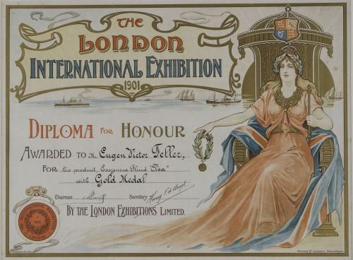 """Diploma zlatne medalje ljekarniku Eugenu Viktoru Felleru za """"Elsa fluid"""" na izložbi u Londonu"""