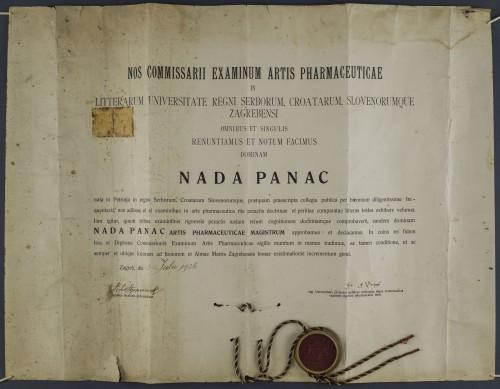 Diploma magistre farmacije Nade Panac