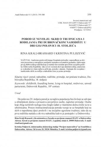 Porod iz nevolje: skrb o trudnicama i rodiljama pri dubrovačkom nahodištu u drugoj polovici 18. stoljeća