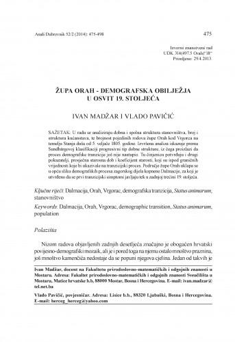 Župa Orah - demografska obilježja u osvit 19. stoljeća / Ivan Madžar, Vlado Pavičić