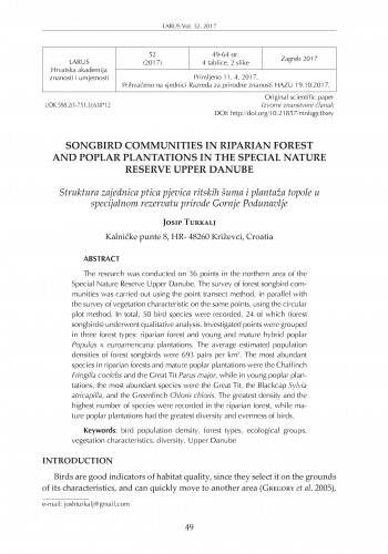 Songbird communities in riparian forest and poplar plantations in the Special Nature Reserve / Josip Turkalj