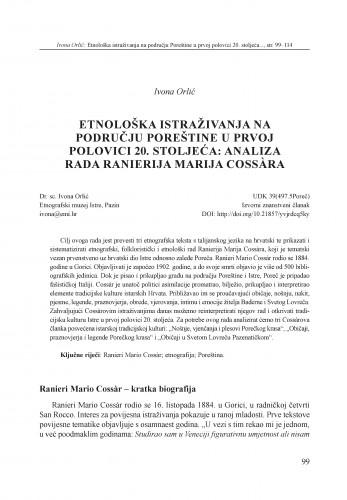 Etnološka istraživanja na području Poreštine u prvoj polovici 20. stoljeća: analiza rada Rainierija Marija Cossàra
