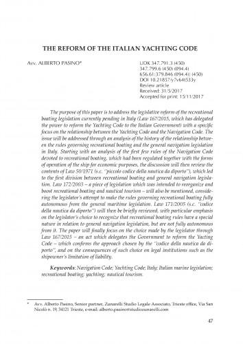 The reform of the Italian Yachting Code / Alberto Pasino