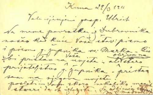 Dopisnica Mate Celestina Medovića galeristu Antunu Ullrichu, Kuna, 29.3.1911.