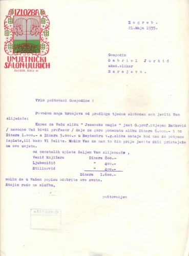 Dopis Ede Ullricha Gabrijelu Jurkiću, dizajn memoranduma: Tomislav Krizman