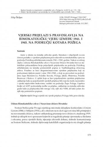 Vjerski prijelazi s pravoslavlja na rimokatoličku vjeru između 1941. i 1945. na području kotara Požega / Filip Škiljan