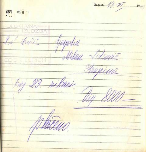 Račun za sliku Menci Clement Crnčića Ribari, 13.3.1929. - iz Knjige računa Salona Ullrich