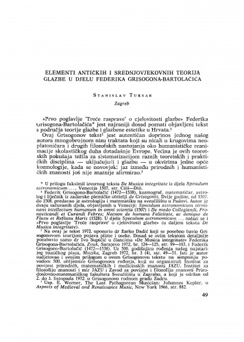 Elementi antičkih i srednjovjekovnih teorija glazbe u djelu Federika Grisogona-Bartolačića