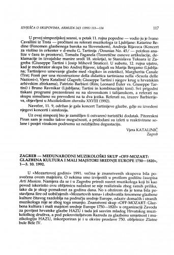 Međunarodni muzikološki skup Off-Mozart: Glazbena kultura i mali majstori srednje Europe 1750- 1820, Zagreb, 1-3. 10. 1992.