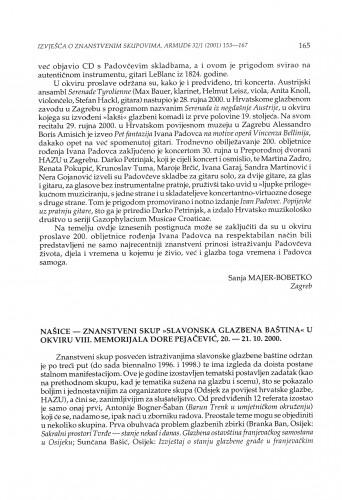 Našice - Znanstveni skup ''Slavonska glazbena baština'' u okviru VIII. Memorijala Dore Pejačević, 20.-21. 10. 2000.