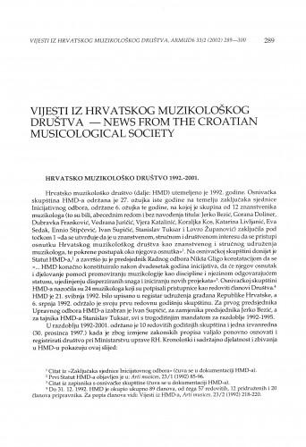 Hrvatsko muzikološko društvo 1992.-2001.