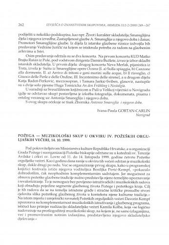 Muzikološki skup u okviru IV. Požeških orguljaških večeri, Požega, 14. 10. 1999.