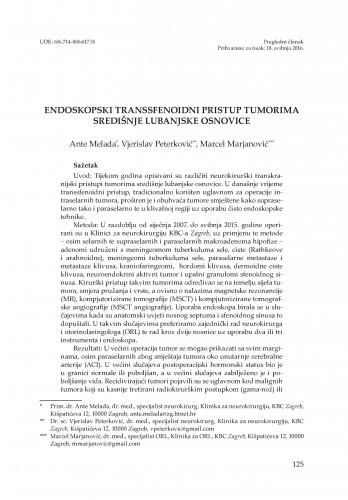 Endoskopski transsfenoidni pristup tumorima središnje lubanjske osnovice