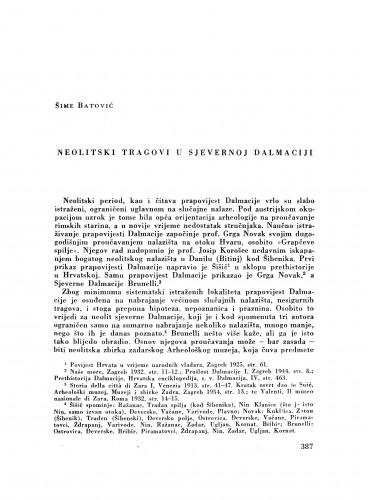 Neolitski tragovi u sjevernoj Dalmaciji