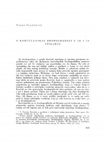 O korčulanskoj brodogradnji u 18. i 19. stoljeću