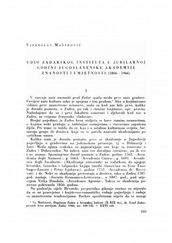 Udio zadarskog Instituta u jubilarnoj godini Jugoslavenske akademije znanosti i umjetnosti : (1866-1966)