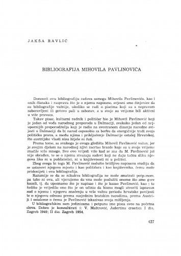 Bibliografija Mihovila Pavlinovića