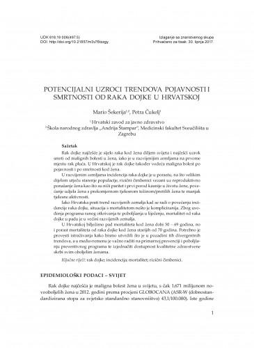 Potencijalni uzroci trendova pojavnosti i smrtnosti od raka dojke u Hrvatskoj