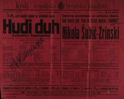 Hudi duh ; Nikola Šubić-Zrinski Gluma s pjevanjem u tri čina i s predigrom ; Glazbena slika u tri čina (sedam slika)  =  Lumpacius Vagabundus