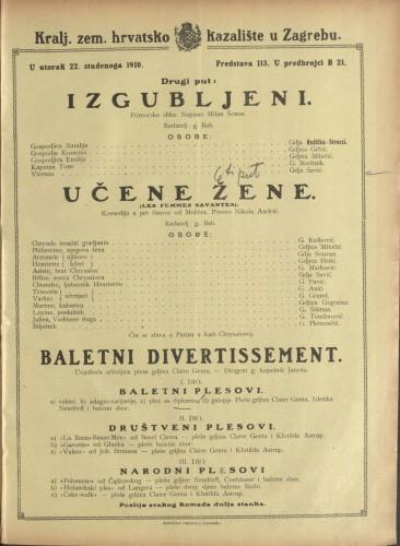 Izgubljeni ; Učene žene ; Baletni divertissement Primorska slika ; Komedija u pet činova  =  Les Femmes savantes