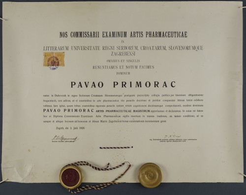 Diploma magistra farmacije Pavla Primorca