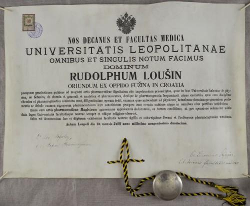 Diploma magistra farmacije Rudolfa Loušina
