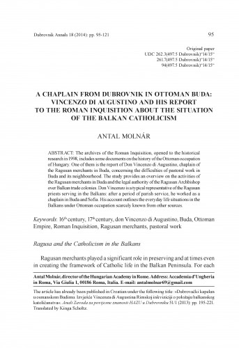 A chaplain from Dubrovnik in Ottoman Buda: Vincenzo di Augustino and his report to the Roman Inquisition about the situation of the Balkan Catholicism : Dubrovnik Annals