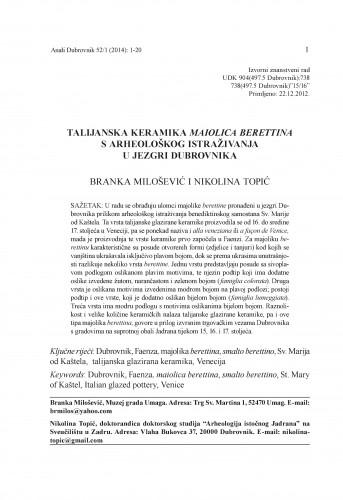 Talijanska keramika maiolica berettina s arheološkog istraživanja u jezgri Dubrovnika : Anali Zavoda za povijesne znanosti Hrvatske akademije znanosti i umjetnosti u Dubrovniku