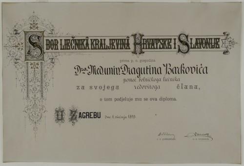 Članska povelja Sbora liečnika Kraljevina Hrvatske i Slavonije - Povelja dodijeljena dr. Dragutinu Barkoviću