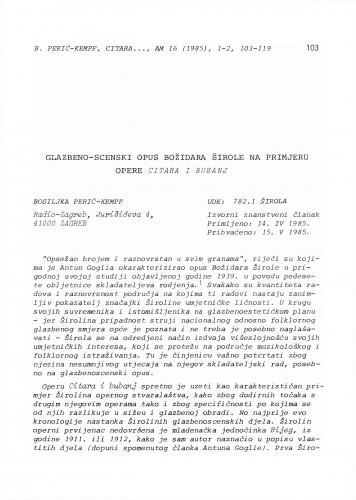 Glazbeno-scenski opus Božidara Širole na primjeru opere