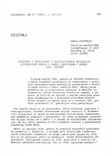 Izvještaj o sredjivanju i katalogiziranju muzikalija Historijskog arhiva u Zadru, obavljenom u srpnju 1982. godine