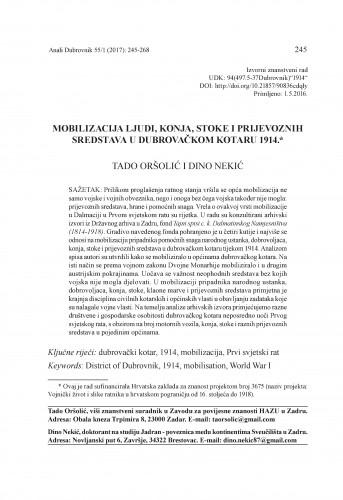 Mobilizacija ljudi, konja, stoke i prijevoznih sredstava u Dubrovačkom kotaru 1914. / Tado Oršolić, Dino Nekić