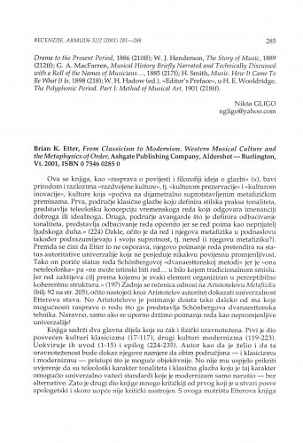 Brian K. Etter, From Classicism to Modernism. Western Musical Culture and the Metaphysics of Order, Ashgate, Aldershot - Burlington 2001.