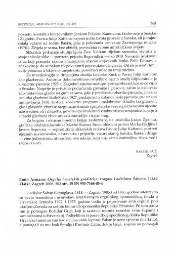 Emin Armano: Orgulje hrvatskih graditelja, tragom Ladislava Šabana, Jakša Zlatar, Zagreb 2006. : [prikaz]