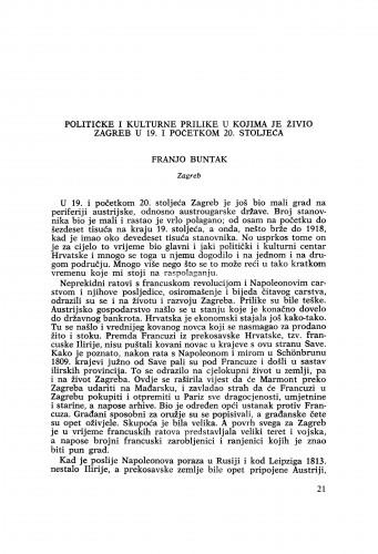 Političke i kulturne prilike u kojima je živio Zagreb u 19. i početkom 20. stoljeća