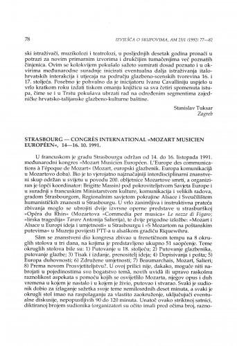 Congrès international ''Mozart musicien Européen'', Strasbourg, 14-16. 10. 1991.