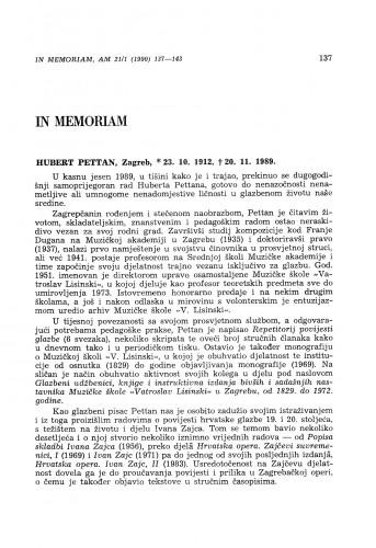 Hubert Pettan, Zagreb, *23. 10. 1912, +20. 11. 1989.