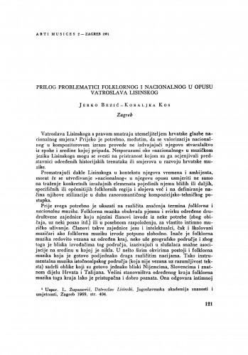 Prilog problematici folklornog i nacionalnog u opusu Vatroslava Lisinskog