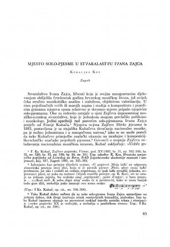 Mjesto solo-pjesme u stvaranju Ivana Zajca