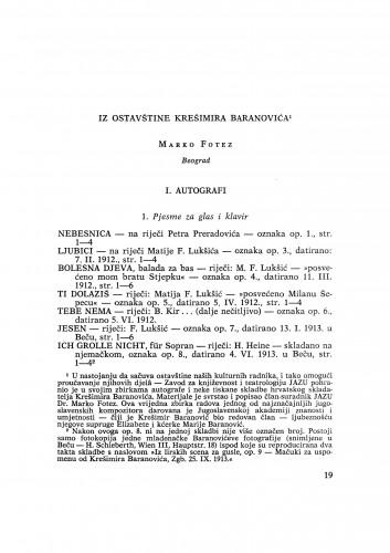 Iz ostavštine Krešimira Baranovića