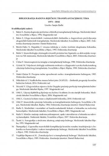 Bibliografija radova Riječkog transplantacijskog tima (1971-2016)